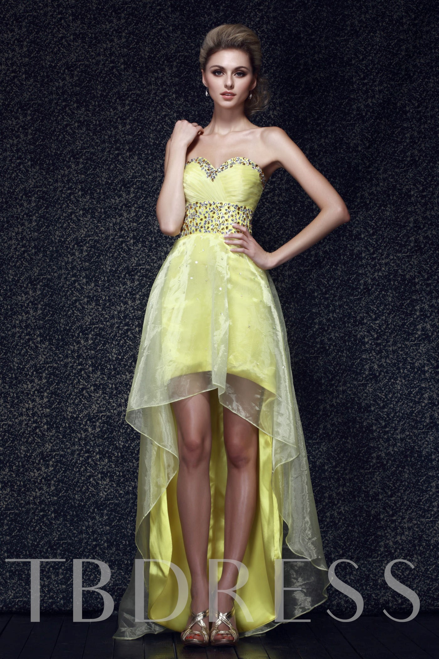 Image of A-line Beading Sweetheart High-low Prom/Evening Dress
