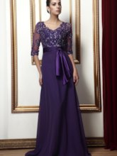 Sequined Mother of the Bride Dress with Half Sleeve
