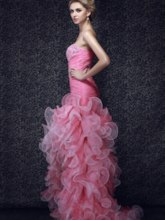 Sheath/Column Strapless Tiered Ruffles Beading High-low Prom Dress