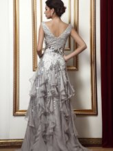 Beading Sequins Ruffles Mother of the Bride Dress