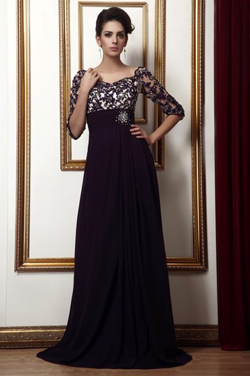 Empire Waist Appliques Beading Long Mother Dress
