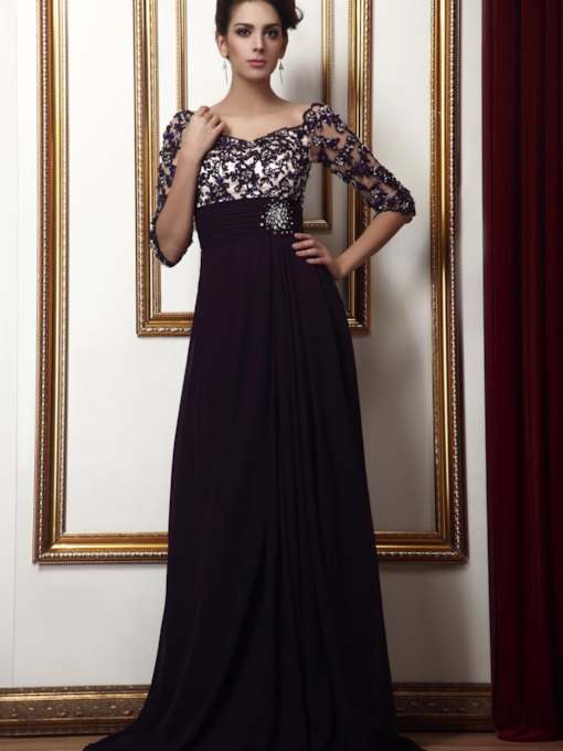 Empire Waist Appliques Beading Mother Dress