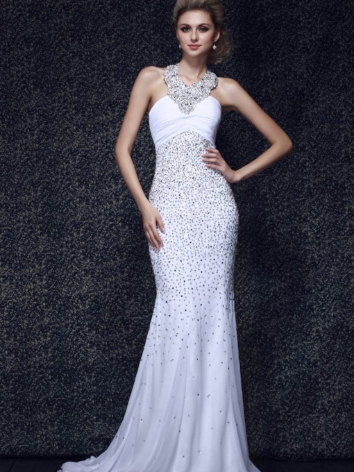 Trumpet/Mermaid Beading Halter Empire Waist Long Evening Dress