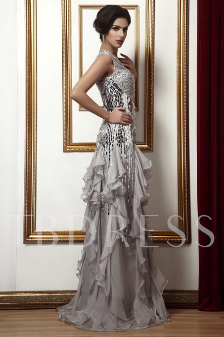 Beading Sequins Ruffles Column Mother of the Bride Dress