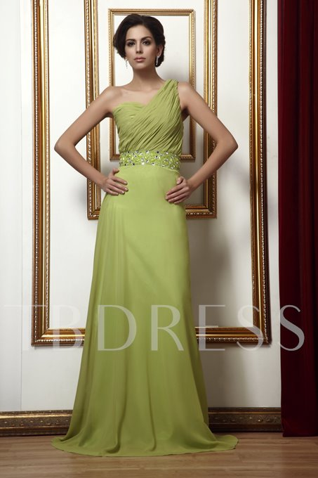 Beading Pleats A-Line One-Shoudler Long Taline's Mother of the Bride Dress