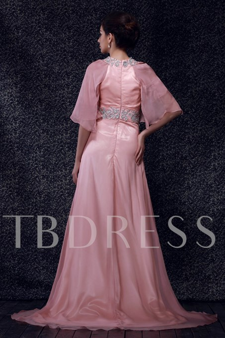 Appliques Pleats Mother of Bride Dress with Sleeves
