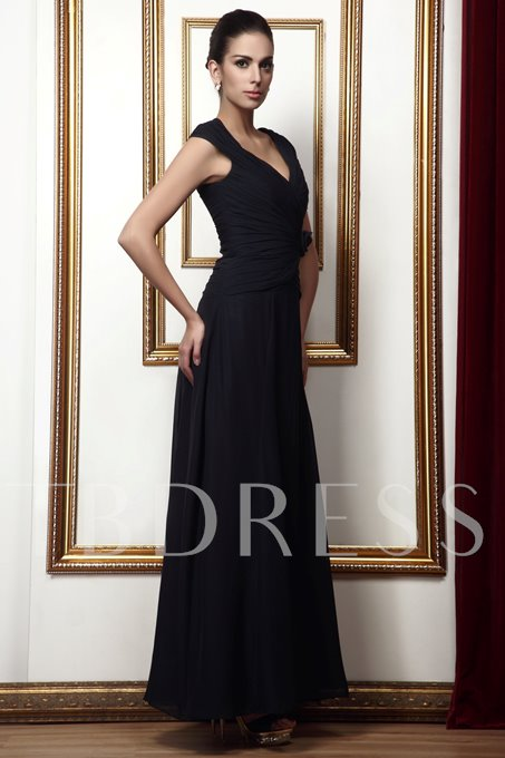 A-line V-Neck Flower Draped Long Taline's Mother of the Bride Dress