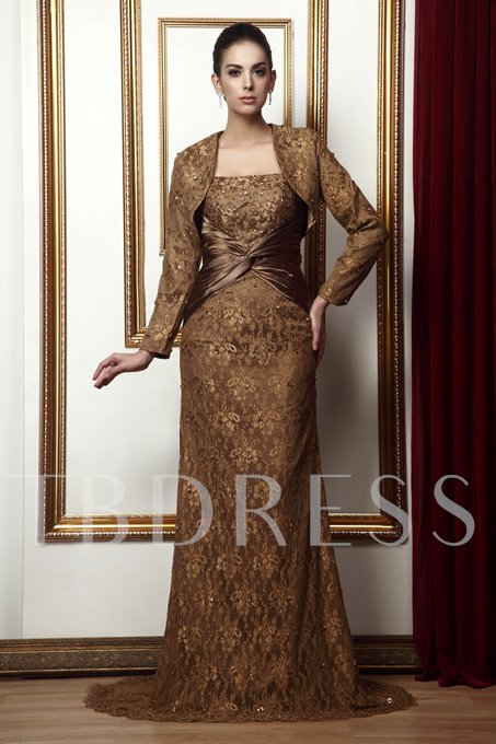 Lace Draped Trumpet/Mermaid Strapless Beading Long Taline's Mother of the Bride Dress With Jacket/Shawl