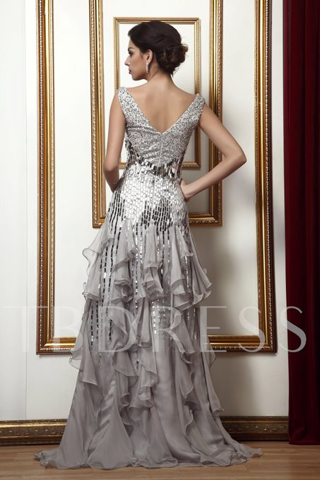 Beading/Sequins Ruffles Sheath/Column Mother of the Bride Dress