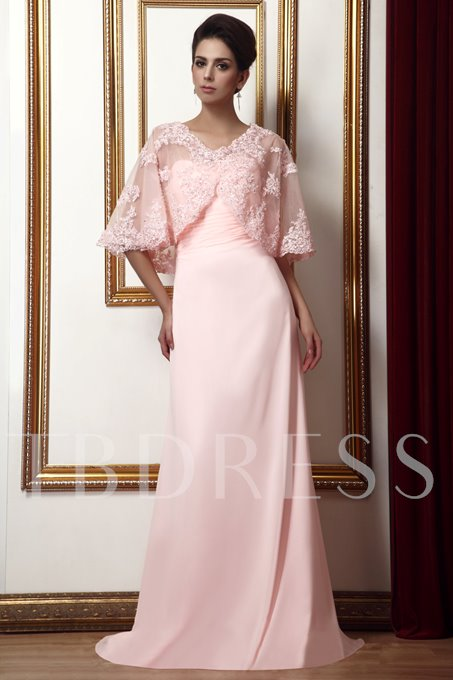 Strapless Appliques Mother of the Bride Dress With Shawl