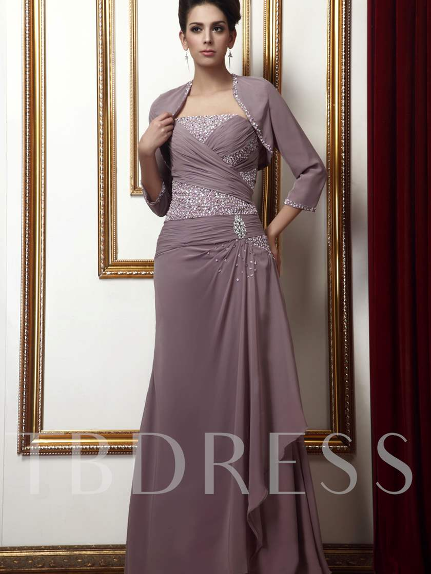 Draped Beading Ruched Sheath/Column Mother of the Bride Dress
