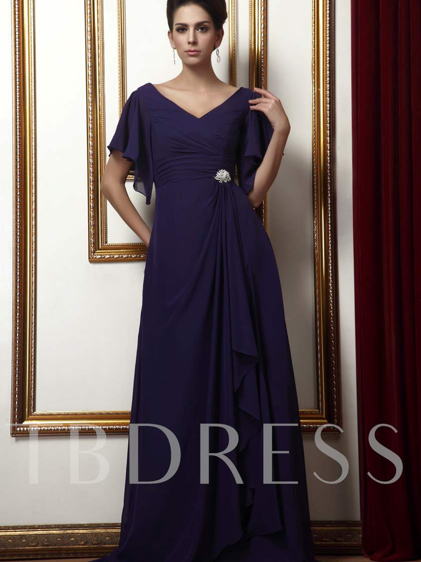 A-Line Pleats Short Sleeves Long Mother of the Bride Dress