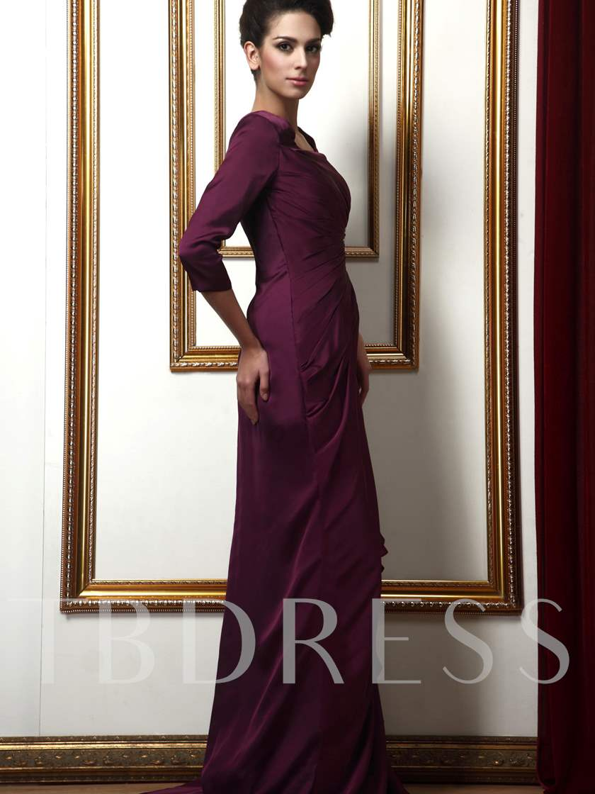 Sequins Square Neck Mother of the Bride Dress with Sleeves
