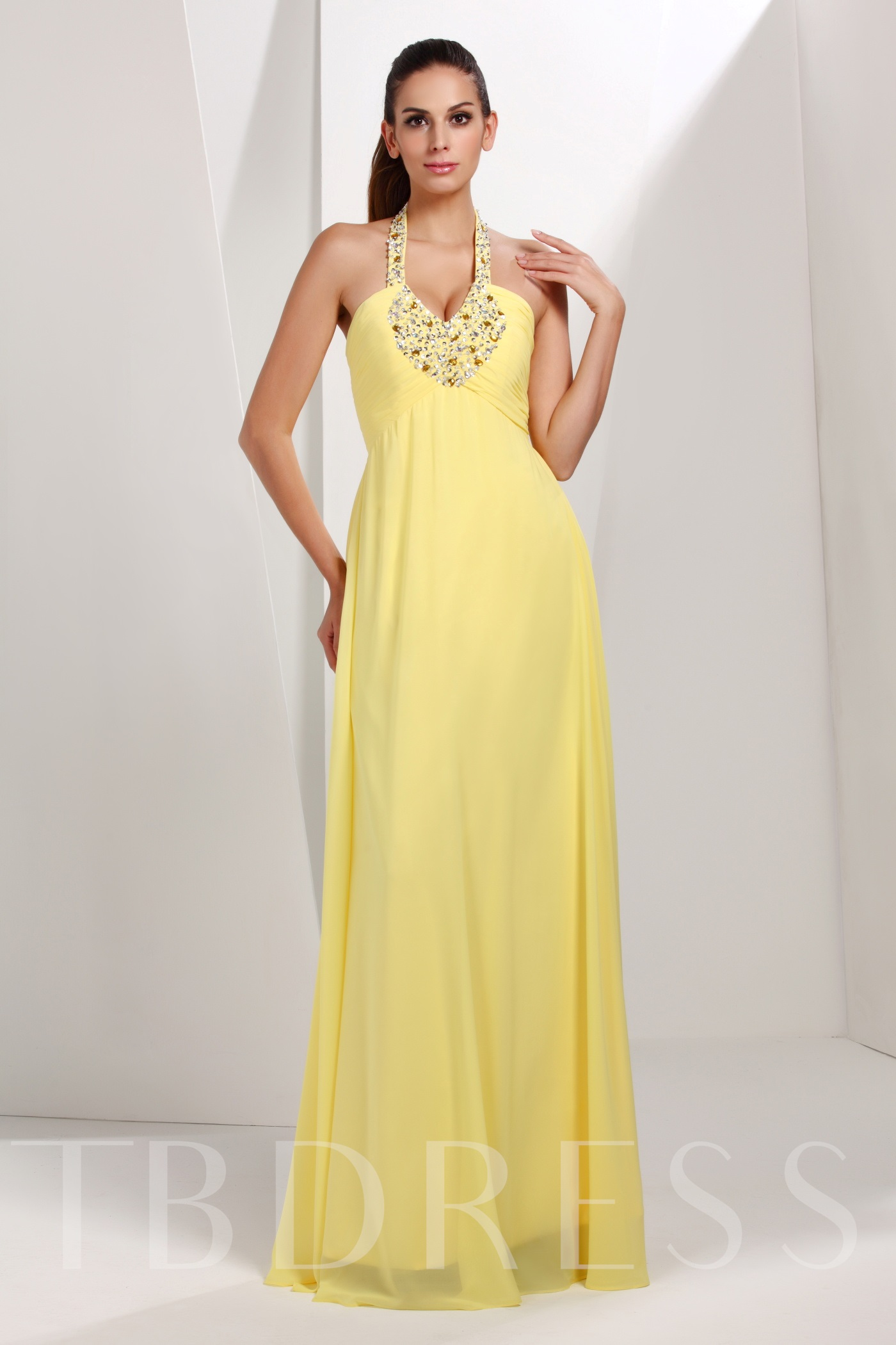 Image of A-Line Halter Talines Long Evening/Prom Dress