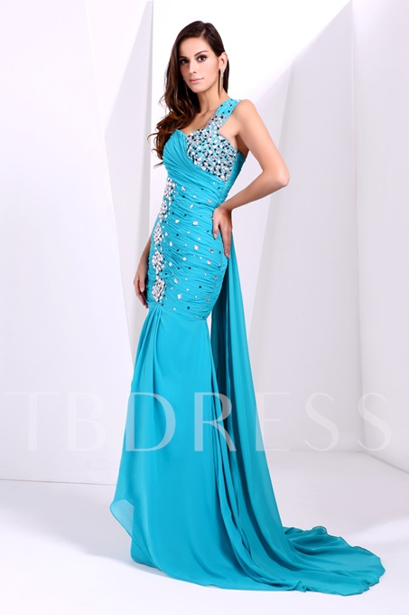 One-Shoulder Beading Ruched Taline's Long Prom Dress
