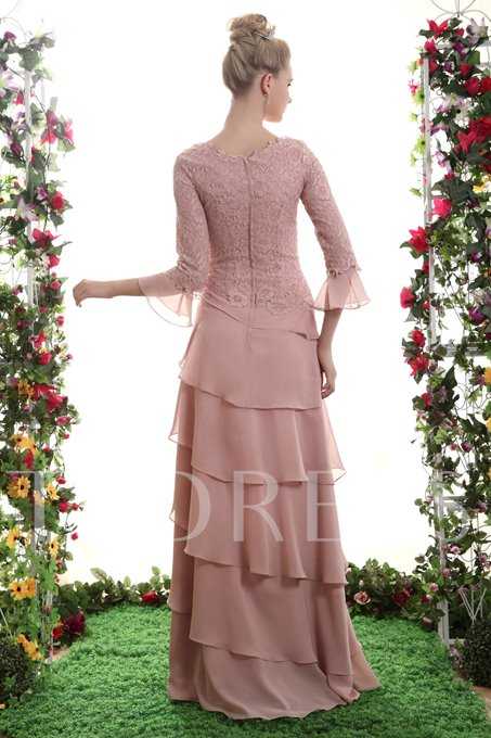 Lace Top Tiered Bridesmaid Dress with Sleeves