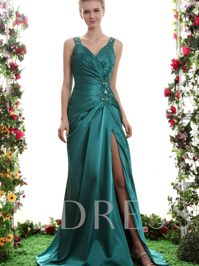 Sheath V-Neck Split-Front Beading Long Evening Dress