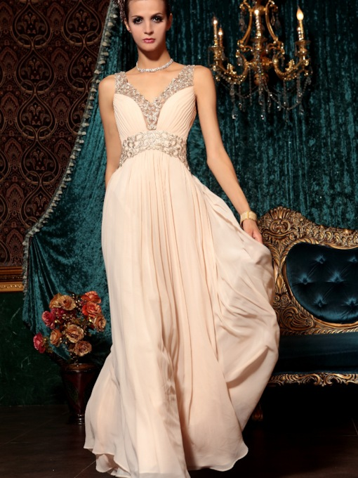 V-Neck Beading Sleeveless Floor-length Evening Dress