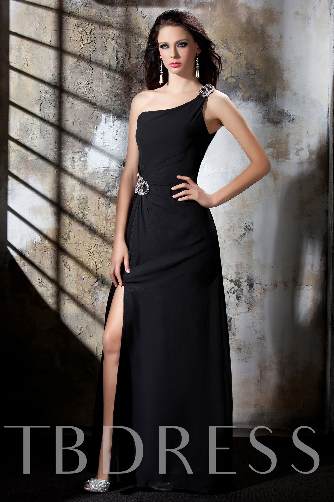 Image of A-Line One-Shoulder Floor-Length Polinas Evening Dress