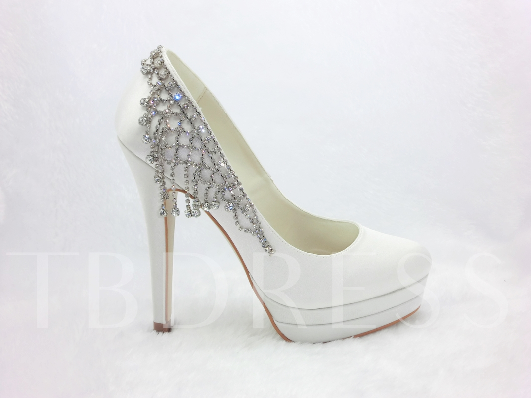Honey Satin Stiletto Heels Closed-toe Wedding Bridal Shoes
