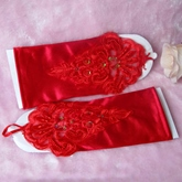 Short Finger-less Satin Wedding Glove with Laciness Applique(white,red)