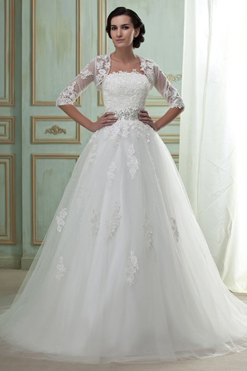 Strapless Appliques Wedding Dress With Jacket