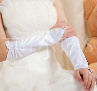 Long Finger-less Satin Wedding Glove with Pearls(red,white)