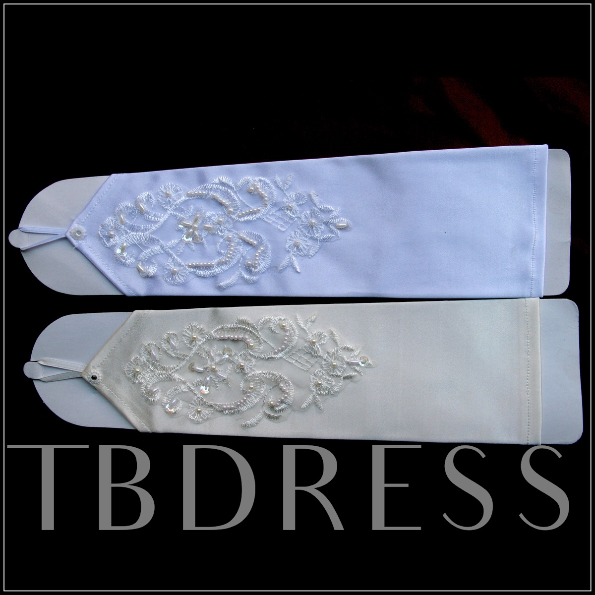 Finger-less Embroidered Satin Wedding Glove with Seamed Bead and Sequins(2Colors)