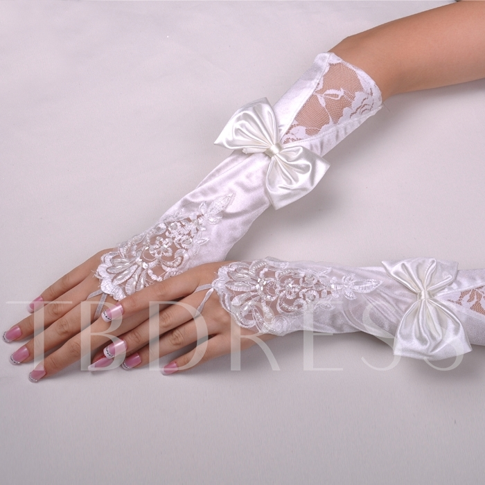 Long Finger-less Satin with Lace Applique and Bowknot Wedding Glove