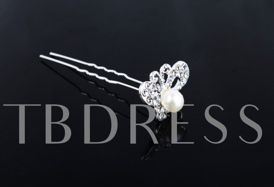 Butterfly Shaped Rhinestone and Peal Hairpin(including 5 piece)