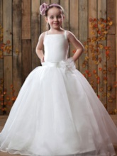 Empire Square Floor-length Flower Girl Dress