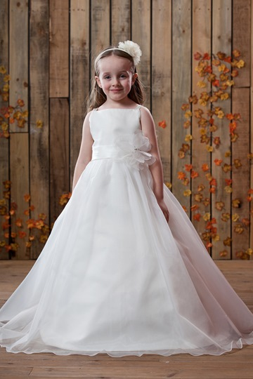 Princess Floor-length Satin Flower Girl Dress for bridal