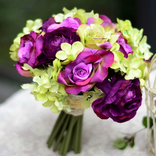 Sphere Shaped Purple Rose Wedding Bridal Bouquet