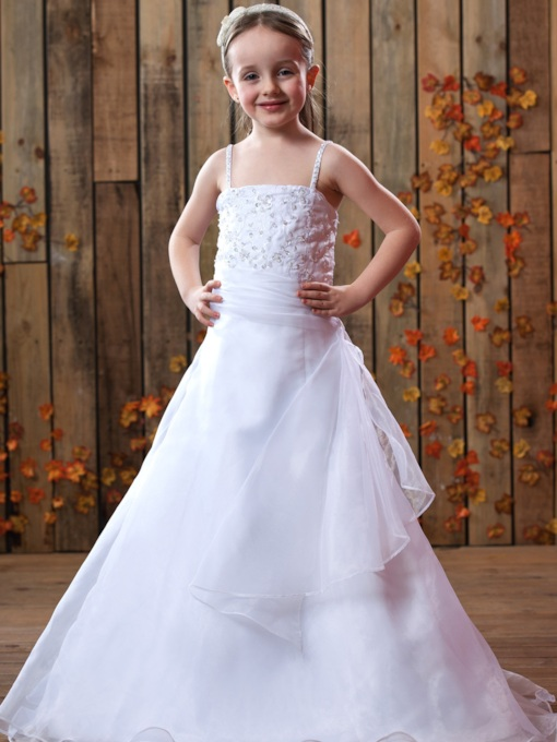 A-Line Spaghetti Straps Beading Flower Girl Dress