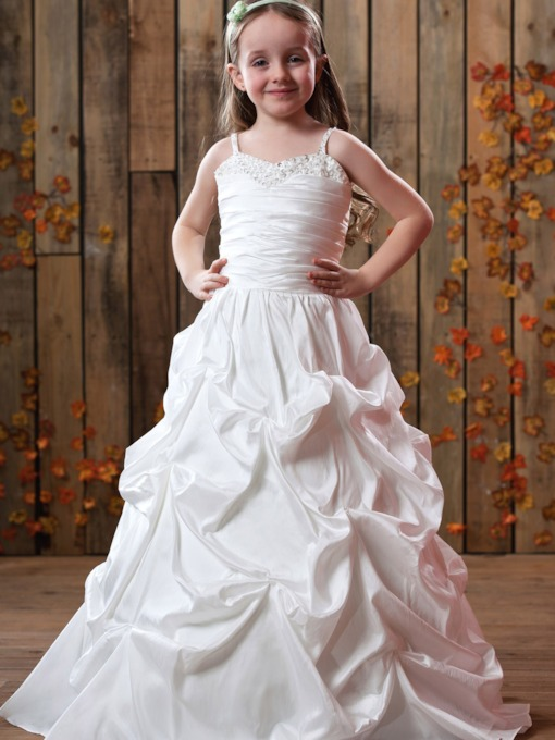 Spaghetti Straps Ruffling Floor-Length Flower Girls Dress