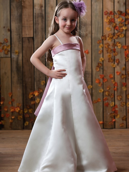 A-line Spaghetti straps Satin Flower Girls Dress