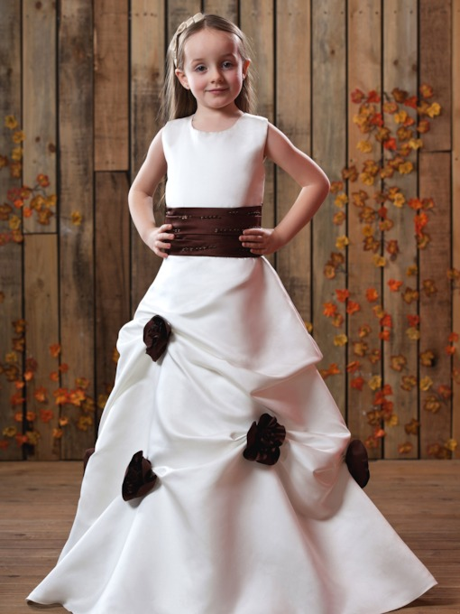 Round Neck Pick-Ups Flower Girl Dress