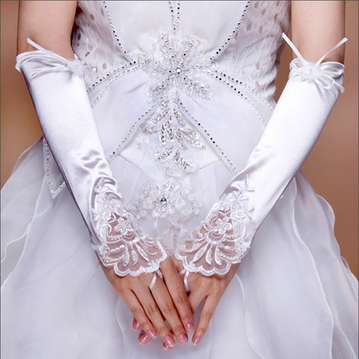 Fingerless Bridal/Wedding Gloves with Lace Applique and Flower