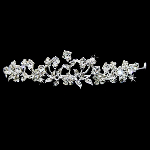 Celebrity Alloy with Flower Shaped Rhinestone Wedding Bridal Tiara