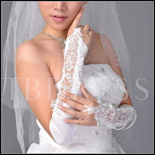Long Fingerless Embroidered Satin Bridal/Wedding Gloves with Lace Applique