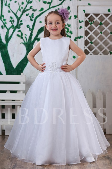 A-Line Round-Neck Long Flower Girls Dress