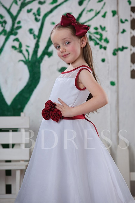 A-line Tea -length Bateau Flower Girl Dress