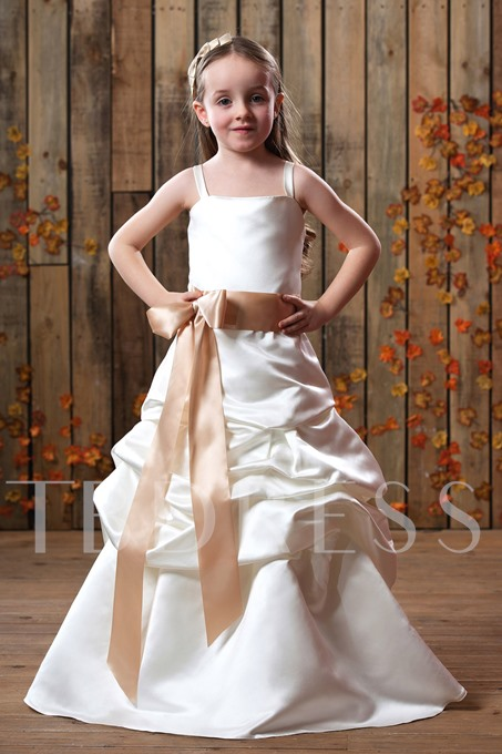 A-line Floor-Length Spaghetti Straps Ruched Bowknot Flower Girl Dress