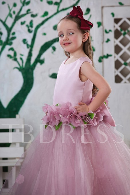 Ball Gown Ankle-length Round-neck Flowers Flower Girl Dress