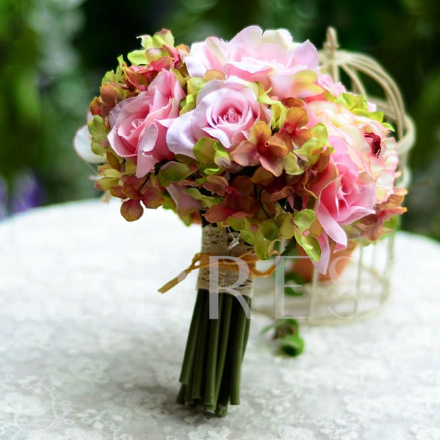Sphere Shaped White Rose Wedding Bridal Bouquet with White Ribbon
