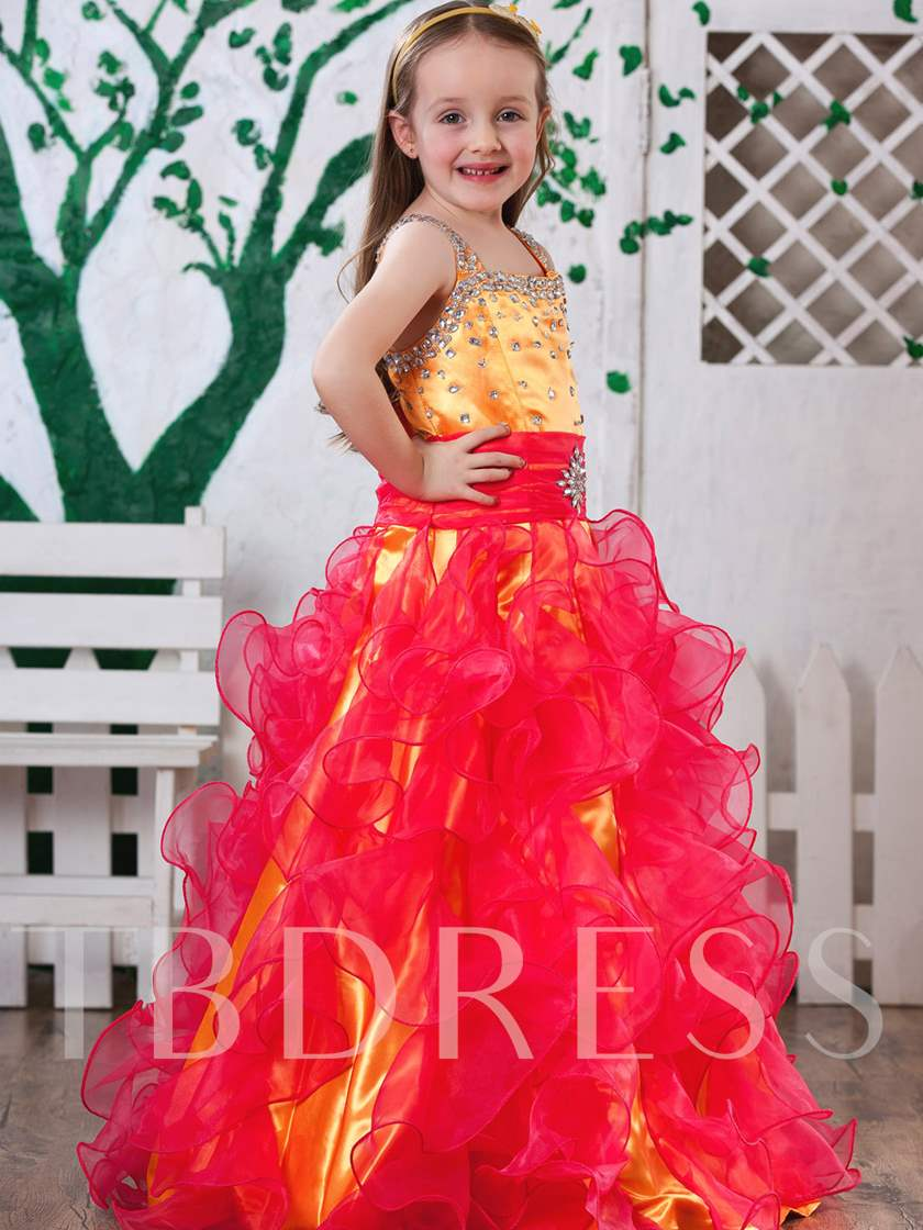 A-line Floor-length Scoop Ruched & Sequins Flower Girl Dress