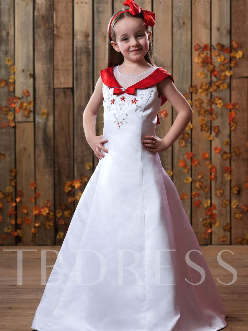 A-Line V-neck Floor-length Flower Girls Dress