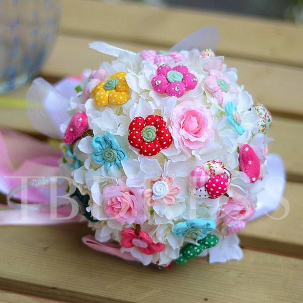Sphere Shaped White Rose with Flowers Wedding Bridal Bouquet