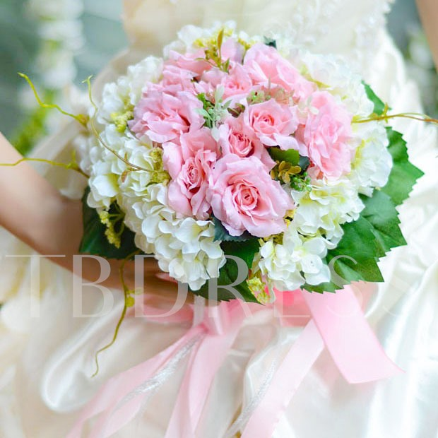 Outstanding White Rose Cloth Wedding Bridal Bouquet with Pink Ribbon