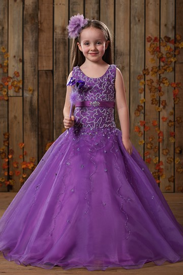 Ball Gown Scoop Floor-length Beaded Flower Girl Dress